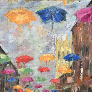 Brollies in the breeze by Kay Dower