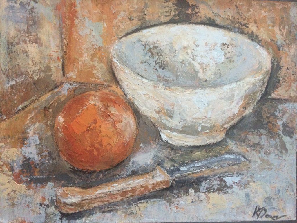 White bowl, orange, knife by Kay Dower