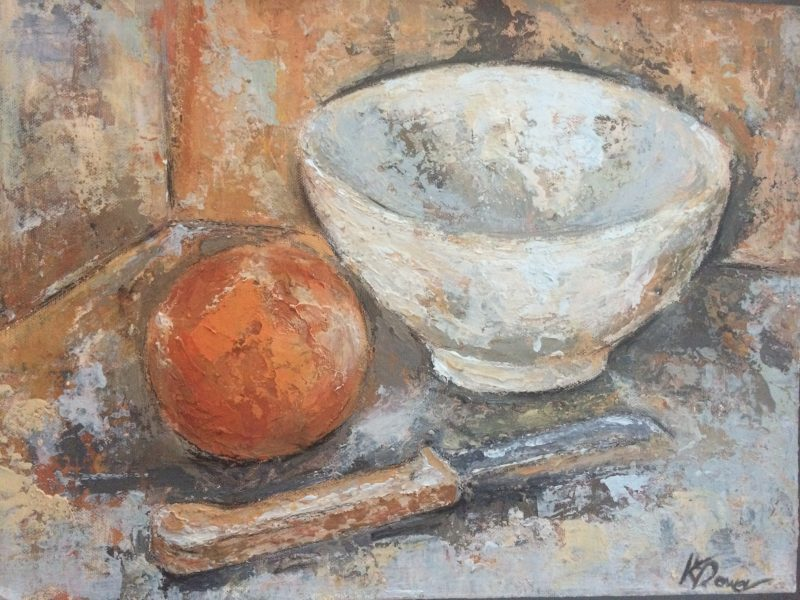 White bowl, orange, knife by Kay Dower