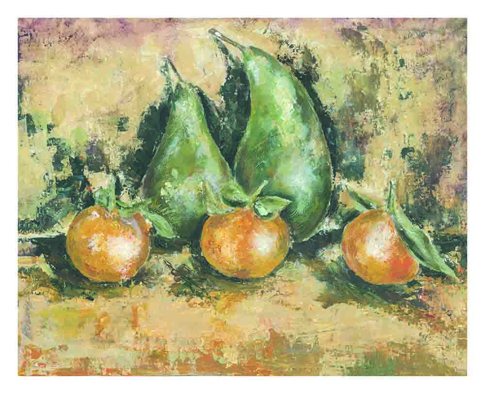 Two_pears_three_clementines_by_Kay_Dower